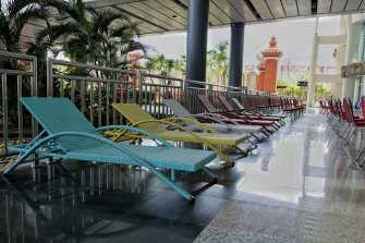 Pool chairs laid out at the airport to accommodate tourists as they arrive and undergo PCR testing.
