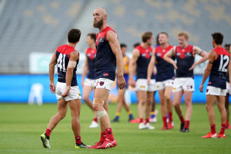A despondent Max Gawn looks on after the Demons' round one loss.