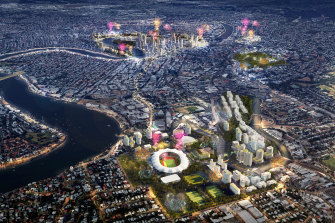 The proposed Brisbane Olympic Stadium at Albion with the proposed Olympic venues lit in the background.