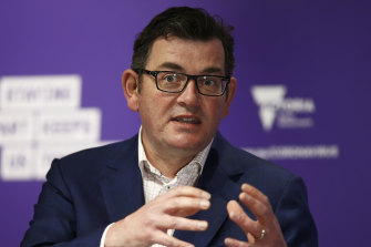 Daniel Andrews addresses the media on Monday, when he flagged good news for regional Victoria.