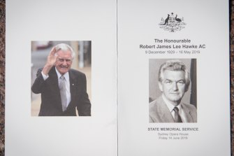 The order of service for Bob Hawke's memorial service.