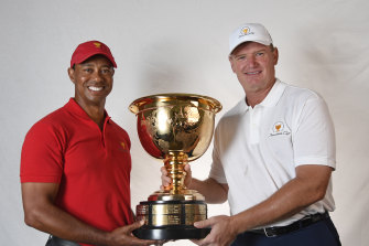 Presidents Cup captains Tiger Woods and Ernie Els.