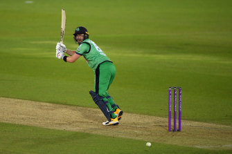 Irish captain Andy Balbirnie flicks one away during the win over England.