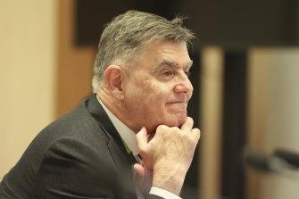 Secretary of the Department of Health Professor Brendan Murphy during a Senate estimates hearing on Wednesday.