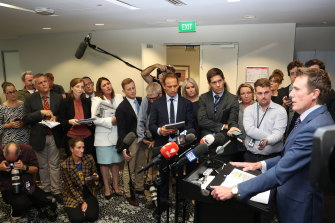 Attorney General Christian Porter's press conference in Perth on Wednesday.