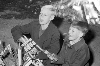 Local boys get ready to start Cracker Night  proceedings, Gore Hill , Sydney. May 1959.