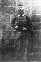 Ned Kelly in chains taken by Charles Nettleton  at the gaol the day before he was hanged.