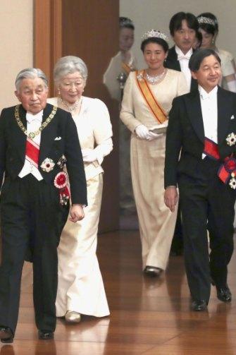Akihito, Michiko, Naruhito and Masako in Tokyo on New Year's Day