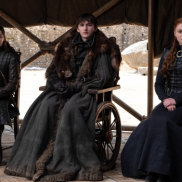 Brandon the Broken with his sisters Arya and Sansa in the Game of Thrones finale.