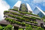 Singapore, Singapore - October 15, 2017: Green nature facade of Parkroyal on Pickering hotel building in Singapore city satsep14cover