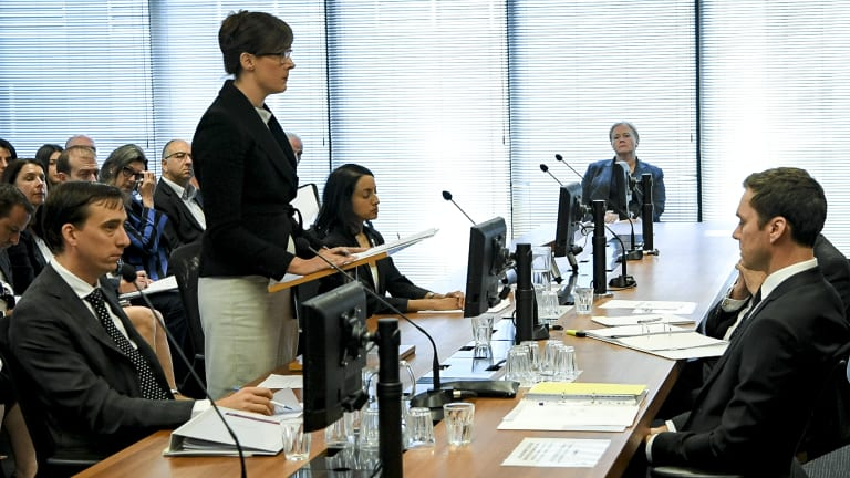 Rowena Orr flanked by Mark Costello and Eloise Dais at the royal commission this week.