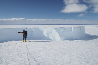 Field guide Andy Hood is seen at the Brunt ice shelf in Antarctica in January 2020.