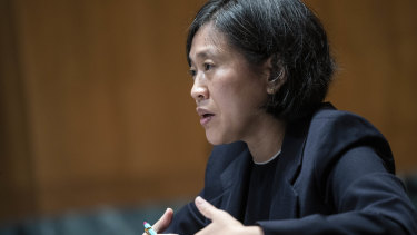 Katherine Tai, US trade representative, speaks at a Senate Appropriations Subcommittee hearing in Washington, DC.
