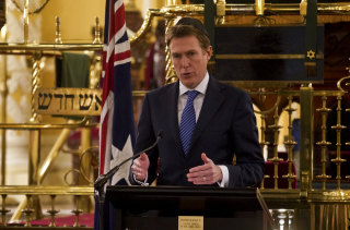 Christian Porter releases his draft of the Religious Discrimination Bill at the Great Synagogue in Sydney.