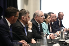 Prime Minister Scott Morrison addresses the media with premiers, chief ministers and Chief Medical Officer Brendan Murphy following a Council of Australian Governments meeting in Sydney.