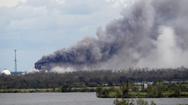 A fire at a BioLab chemical plant that handles chlorine for swimming pools burns in Westlake, Louisiana, last year.