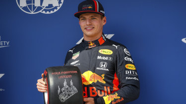 Breakthrough: Dutch driver Max Verstappen of Red Bull celebrates after taking pole during qualifying for the Hungarian Grand Prix at the Hungaroring circuit, in Mogyorod.