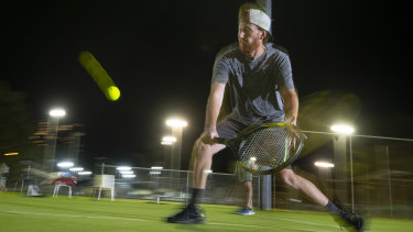 Jaryd Byers plays social tennis at Tennis World North Ryde.