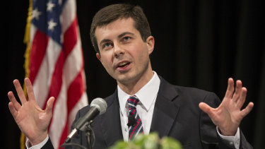South Bend, Indiana mayor Pete Buttigieg delivers his State of the City address in 2014.
