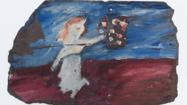 Figure With Flowers, a work on slate by Sidney Nolan, was discovered in a drawer at late artist Mirka Mora's Richmond studio.