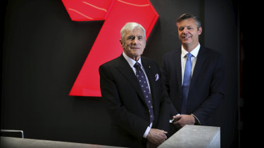 Kerry Stokes with newly appointed CEO James Warburton at the Network's Everliegh studios, Sydney.