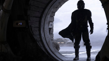 The Mandalorian (Pedro Pascal) in a scene from the Star Wars television series The Mandalorian.