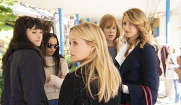 The co-conspirators: (l-r) Jane (Shailene Woodley), Bonnie (Zoë Kravitz), Madeleine (Reese Witherspoon), Celeste (Nicole Kidman) and Renata (Laura Dern).