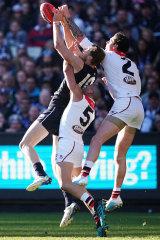 Carlton's Harry McKay flies high.