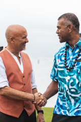 Host Robert Oliver (left) with Pacific Island Food Revolution judge Dr Jone Hawea.