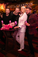Michael Brown, Mark Evans, Jesinta Franklin and Adam Finch at the Moet & Chandon Grand Party at Hemmesphere.