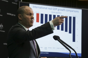 """Treasurer Josh Frydenberg described Australia's economic crunch as """"devastating"""" in the first recession in about 30 years."""