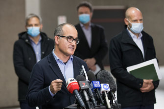 Victoria's Acting Premier James Merlino speaks to the media on Friday morning.