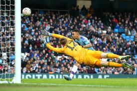 Gabriel Jesus scores Manchester City's fourth goal against Fulham at Etihad Stadium on Sunday.