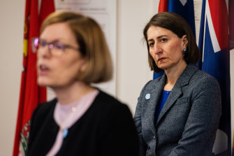 NSW Premier Gladys Berejiklian, pictured with Chief Health Officer  Kerry Chant, apologised to the 62 people who contracted COVID-19 from the Ruby Princess - despite not setting foot on board.