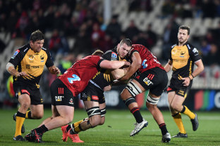 Fergus Lee-Warner of the Force charges forward during the round four Super Rugby Trans-Tasman match between the Crusaders and the Western Force at Orangetheory Stadium.