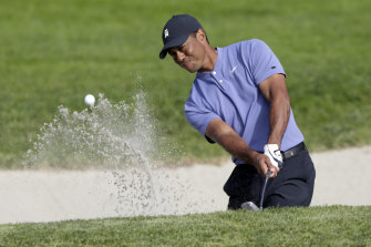 Tiger Woods in action on the North course.