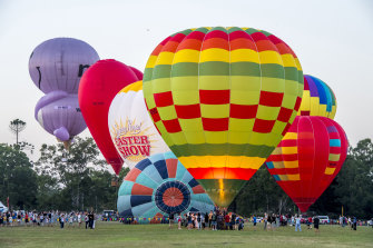 The hot air balloon display at Parramatta's 2019 Australia Day celebrations.