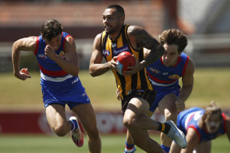 Jarman Impey during the Hawks' pre-season win over the Bulldogs on Wednesday.