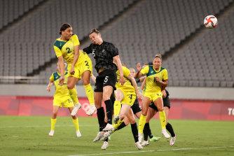 Sam Kerr scores Australia's second goal of the night in Tokyo.