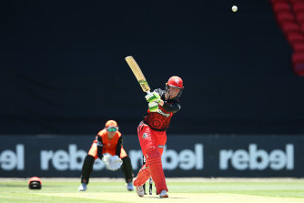 Amy Satterthwaite of the Renegades bats during the WBBL match between the Perth Scorchers and the Melbourne Renegades.