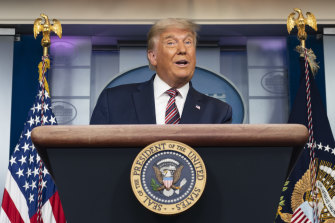 US President Donald Trump at the White House on Thursday night (local time). He has made repeated and unsubstantiated accusations of electoral fraud.