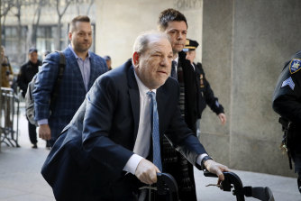 Harvey Weinstein, pictured arriving at a Manhattan court on a walker in February.