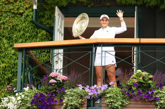 Ashleigh Barty celebrates after her win at Wimbledon in July.