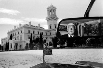 Sir Rohan Delacombe being driven to the front of Government House in Melbourne on his last day in office in 1974.