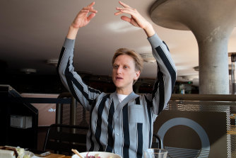 Can't help himself:  David Hallberg's ballet arms demonstrate a point over lunch.