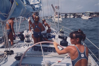 The crew turned the sexism they encountered on its head by sailing into Florida in their swimsuits.