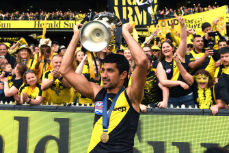 Debut to remember: Marlion Pickett with the premiership cup.