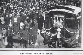 The first electric train on the Melbourne network, pictured at its launch at Essendon station in 1919 was a Tait train, later dubbed a Red Rattler.