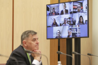 Professor Brendan Murphy and friends communicate at a Senate inquiry via Zoom.