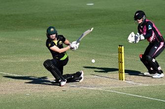 Meg Lanning in action for Australia in Sunday's Twenty20 win over New Zealand.